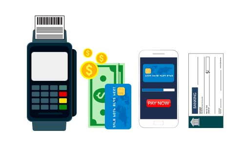 A graphic with different ways to make a payment.