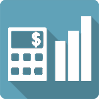 an icon with a calculator and charts representing business finance calculators