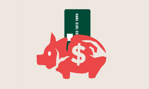 Illustration of a broken piggy bank