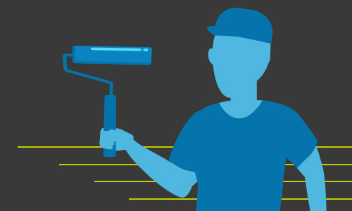 Illustration of a person holding a paint roller