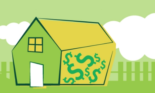 Illustration of a house with dollar signs