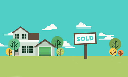 Illustration of a house with a sold sign in the front yard