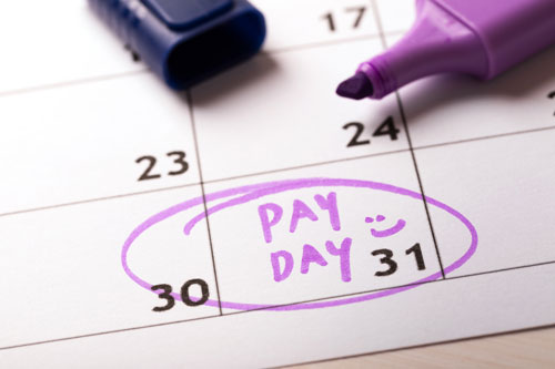 Payday written on a calendar and circled